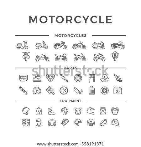 Set of motorcycle related line icons isolated on white