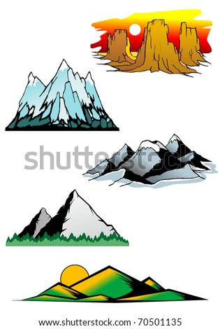 Set of mountain symbols for majestic design - also as emblem or logo template. Vector version also available in gallery