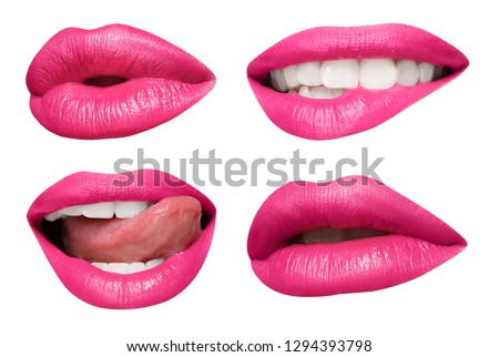 Set of mouths with beautiful make-up isolated on white. Pink lipstick