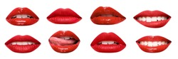 Set of mouths with beautiful make-up isolated on white. Red lipstick