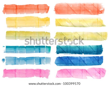 Set of multicolor hand-painted watercolor banners on rough  crumpled paper with different crease patterns