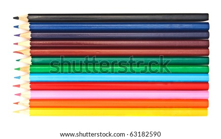 Set of multicolor pencils isolated on white