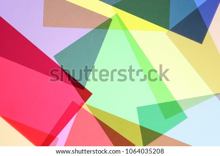 set of multicolored and overlapping transparencies, abstract colorful background #1064035208