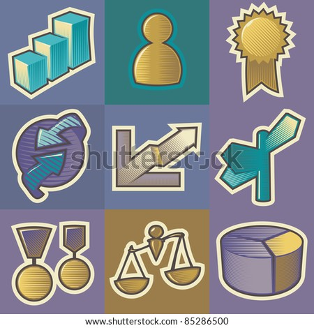 Set of multicolored business retro icons. Hatched in style of engraving. Raster version. Vector version is also available.