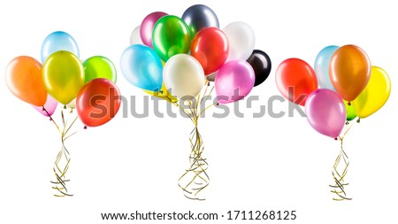 Set of multicolored helium balloons with clipping path. Element of decorations for Birthday party, wedding or festival.