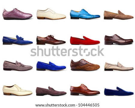 Set of multicolored men's shoes on a white background.16 pieces.