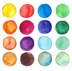 Set of multicolored watercolor dots