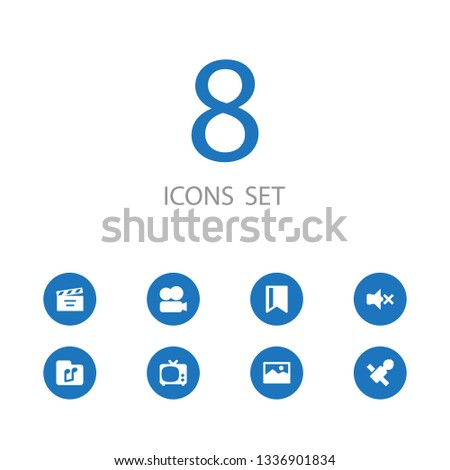 Set of 8 multimedia icons set. Collection of bookmark, vcr camera, sputnik and other elements.