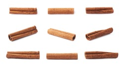 Set of multiple single cinnamon sticks isolated over the white background
