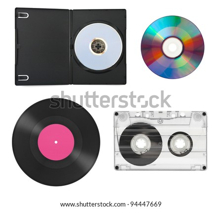 Set of music equipment isolated on white background