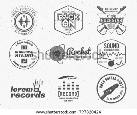 Set of music production logo,label, sticker, emblem, print or logotype with elements - guitar, sound recording studio, t-shirt, sound production. Podcast and radio badges, typography design.