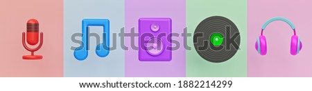 Set of music related icons. microphone, Music note, sound speaker, vinyl record and headphone. colorful trendy banner. 3d rendering