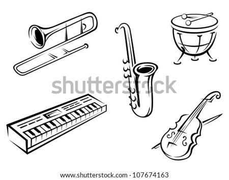 Set of musical instruments in silhouette style for entertainment design, such a logo. Vector version also available in gallery