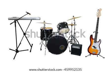 Set of musical instruments isolated on white background: guitar, synthesizer, combo amplifier and drums