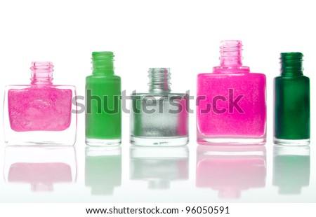 set of nail polishes isolated on white background