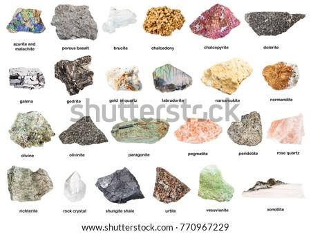 set of natural mineral specimens with name (dolerite, olivine, pegmatite, peridotite, richterite, shungite shale, urtite, gedrite, xonotlite, quartz, chalcopyrite, galena, etc) isolated on white