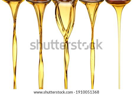 set of natural Olive oil golden oil flow natural flow of oil, vegetable oil, peanut sunflower sesame oils