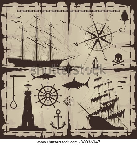 Set of nautical design elements. No trace. Raster version of the illustration.