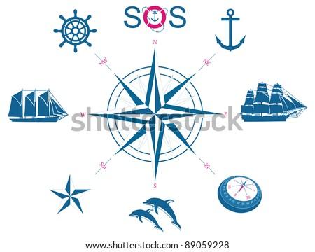 Set of nautical symbols - illustration