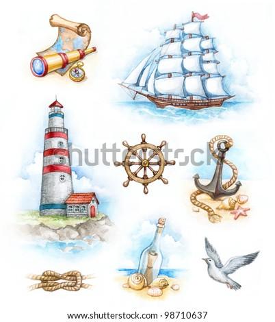 Watercolor nautical illustrations