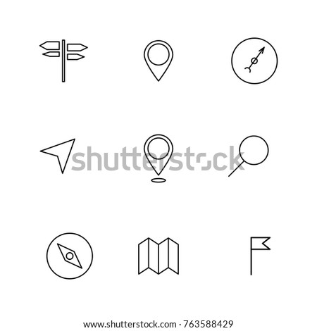 Set of navigation icons of thin lines, isolated on white background