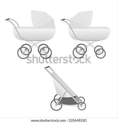 Set of neutral-color high-detailed baby strollers