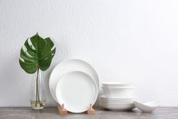 Set of new ceramic dishware on table