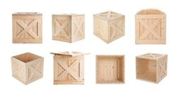 Set of new wooden crates on white background. Banner design