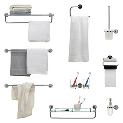 Set of nine bathroom objects - towel racks, toothbrush holder, toilet paper and soap dispensers