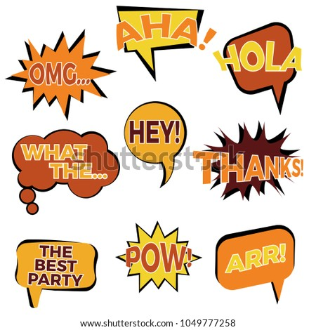 Set of nine cartoon comic balloon speech bubbles in flat style. Elements of design comic books with different phrases.  #1049777258