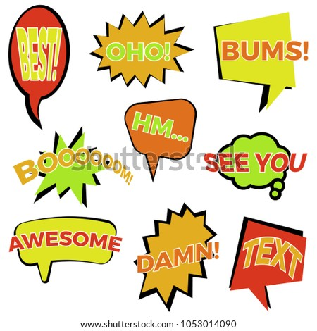 Set of nine cartoon comic balloon speech bubbles in flat style. Elements of design comic books with different phrases. #1053014090