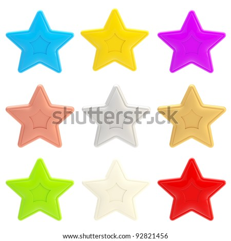 Set of nine colorful glossy stars isolated on white