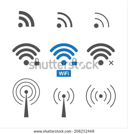 Set of nine different wireless and wifi icons for design.