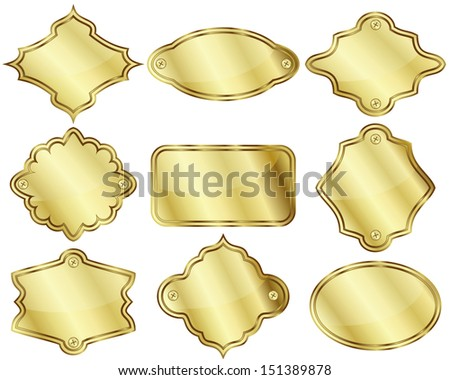 Set of nine isolated golden labels or plates
