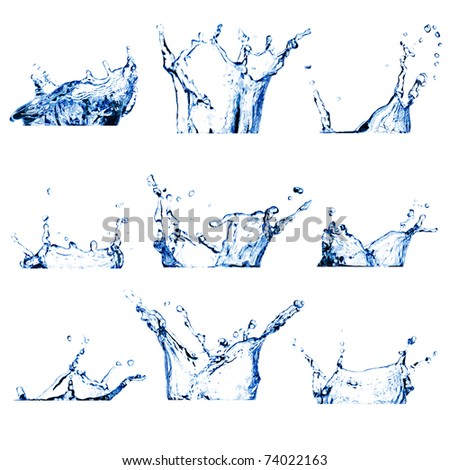 Set of nine water splashes (crowns) toned blue isolated on white