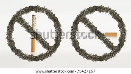 Set of 2 non smoking cigarette icon - stock photo