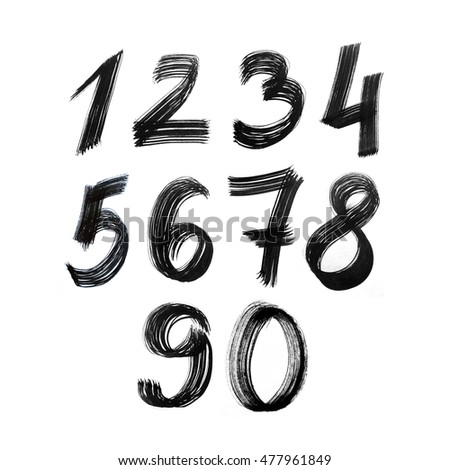 Set of numbers. Painted by black ink brush