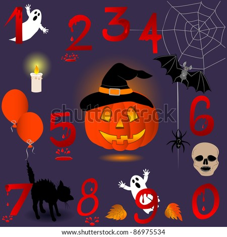 Set of numbers with Halloween icons. Raster version.