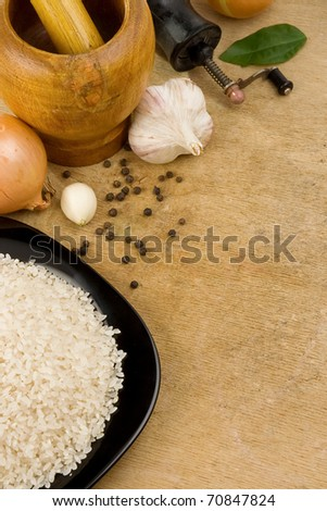 set of nutrition and healthy food on wooden texture