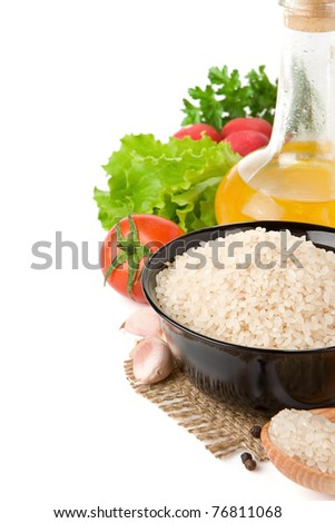 set of nutrition and healthy food with rice isolated on white background
