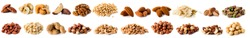 Set of Nuts Walnuts, Brazil Nut, Almond, cashew, Pine Nut peanuts, pistachios, pecans collection Isolated, Set of different delicious organic nuts on white background