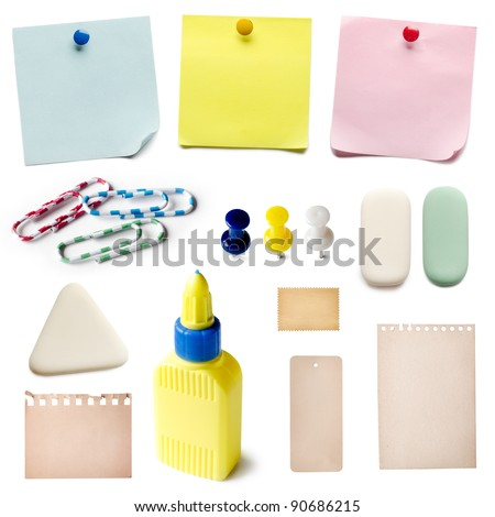 Set of office accessories isolated on a white background