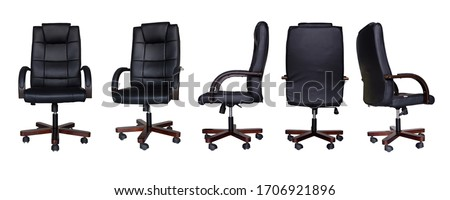 set of Office chair or desk chair isolated on white background in various points of view. Armchair or stool in front, back, side angles. Furniture for Interior design. black office chair Foto stock ©