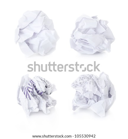 Set of  Office Crumpled Paper Balls / blank and used up / isolated