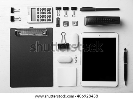 Set of office stationery isolated on a white background, top view stock photo
