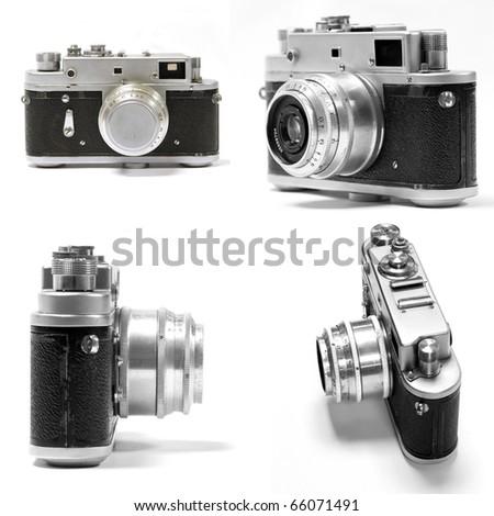 set of old analog photo camera