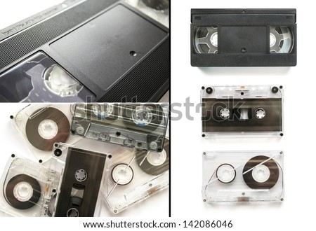 Set of old audio and video tapes #142086046