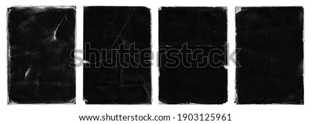 Set of Old Black Empty Aged Damaged Paper Cardboard Photo Card Isolated on White. Rough Grunge Shabby Scratched Torn Ripped Texture. Distressed Overlay Surface for Collage. High Quality.