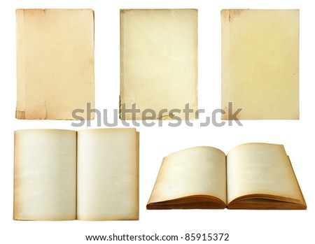 Set of old book isolated on white background