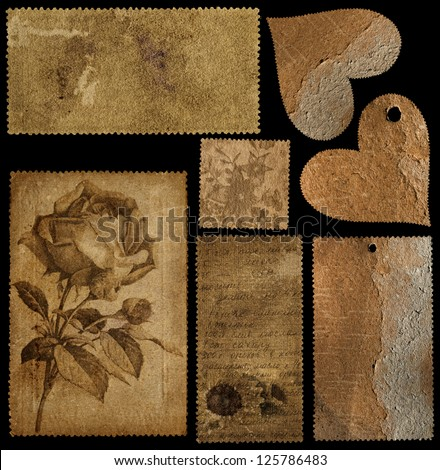 Set of old cards and two hearts for scrap kits - stock photo